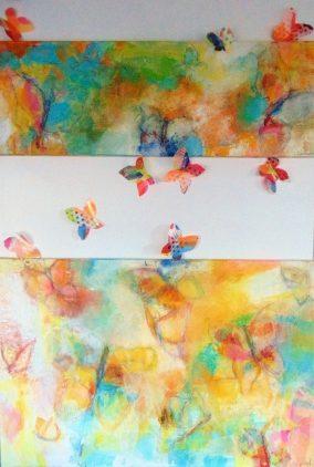 CUÁNTAS VES- díptico con mariposas aplicadas en la pared-técnica mixta-2017 (2)