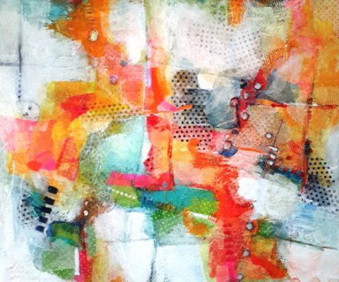 DE REGRESO-120X100-TM y collage de papeles de seda,2017.