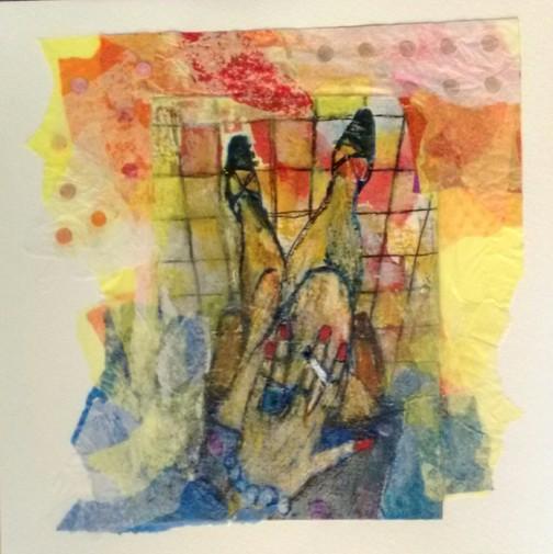 ESPERA II-20x20-collage papeles de seda,acrílicos, acuarela, tinta- 2017